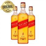 Kit com 3 Whisky Escocês Johnnie Walker Red Label 8 anos Garrafa 500ml